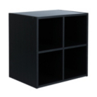 Cube With 4 Shelves in Black Oak