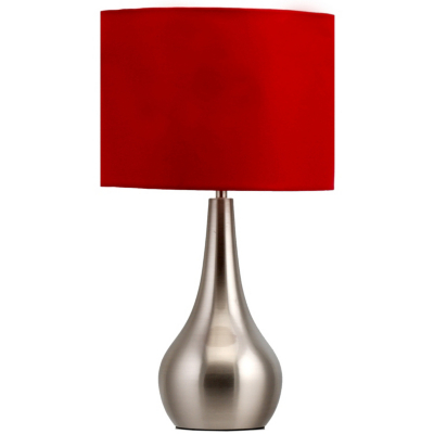 asda brushed steel touch table lamp red black review. Black Bedroom Furniture Sets. Home Design Ideas