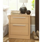 Melbourne Bedside Chest with 2 Drawers - Beech Effect