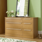 Melbourne 6 Drawer Wide Chest - Oak Effect