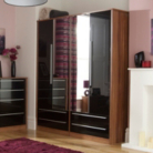Melbourne 4 Door Wardrobe with 4 Drawers - Black Gloss & Walnut Effect