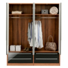 Melbourne 4 Door Wardrobe with 4 Drawers - Black Gloss & Walnut Effect alternative view