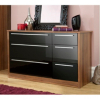 Melbourne 6 Drawer Wide Chest - Black Gloss & Walnut Effect main view