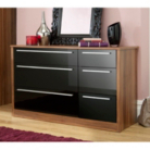 Melbourne 6 Drawer Wide Chest - Black Gloss & Walnut Effect