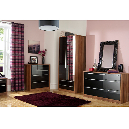 Melbourne black gloss walnut effect furniture range bedroom ranges asda direct Walnut effect living room furniture