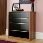 Melbourne 4 Drawer Wide Chest - Black Gloss & Walnut Effect