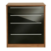 Melbourne 4 Drawer Wide Chest - Black Gloss & Walnut Effect alternative view
