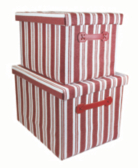 Trends Red Striped Storage Boxes - Set of 2