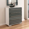 Minsk Grey Gloss Chest - 5 Drawers main view