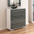 Minsk Grey Gloss Chest - 5 Drawers