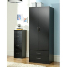Dublin Black Wardrobe - 2 Door - 2 Drawer