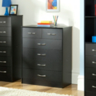 Dublin Black Wide Chest - 6 Drawer