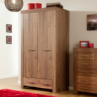 Victoria 2 Door 1 Drawer Wardrobe - Walnut Veneer