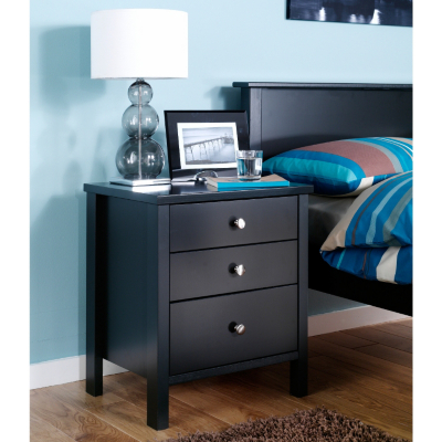 Asda Baltic Black Bedside Table 3 Drawer Black Review Compare Prices Buy Online