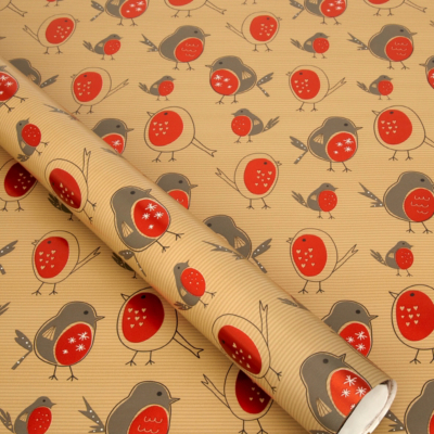 ASDA Red Robin Wrapping Paper - 5 metres, Red