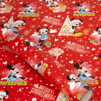 Disney Red Mickey and Minnie Wrapping Paper - 6m, Red