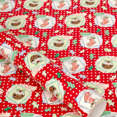 ASDA Red Christmas Pudding Wrapping Paper - 5 metres, Red