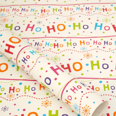ASDA Bright Ho Ho Ho Wrapping Paper - 10 metres, Brights