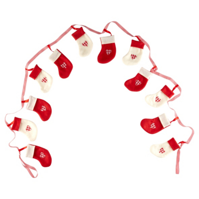 ASDA Christmas Stocking Garland, Red
