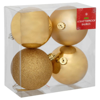 ASDA Gold Baubles - 4 pack, Gold