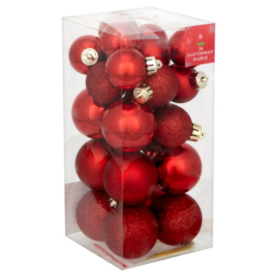 ASDA Red Baubles - 26 pack, Red