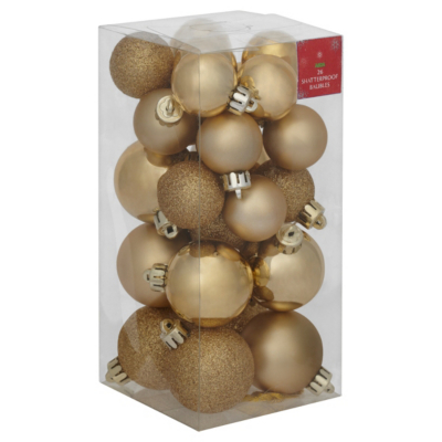 ASDA Gold Baubles - 26 pack, Gold