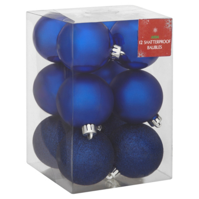 ASDA Blue Baubles - 12 pack, Brights