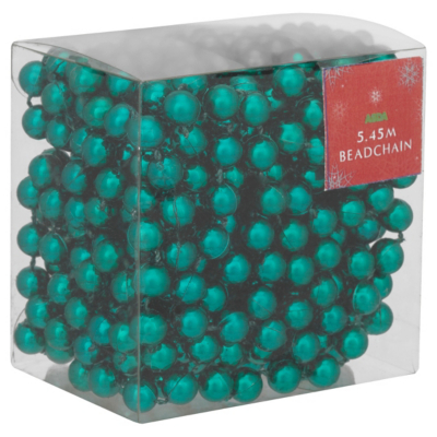 ASDA Beadchain Christmas Decoration - Teal, Brights