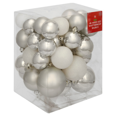 ASDA Silver and White Bauble Pack - 46 pack, Silver