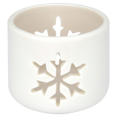 ASDA Snowflake Tealight Holder - White, Silver