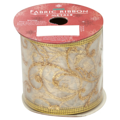 ASDA Fabric Ribbon - Gold, Gold