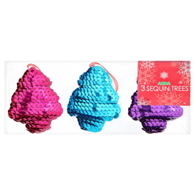 ASDA Sequin Tree Decorations - 3 pack, Brights