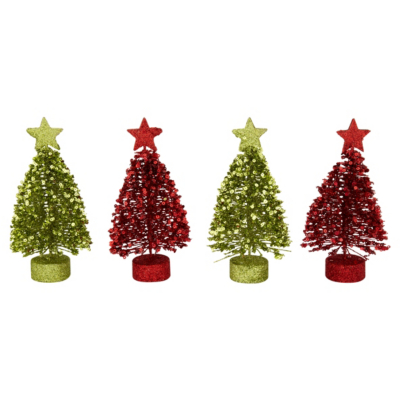 ASDA Mini Trees - Red and gold, Red