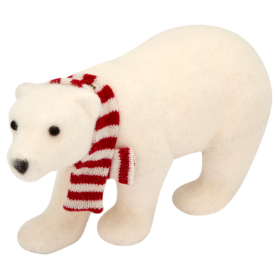Large Flocked Polar Bear Table Piece, Red