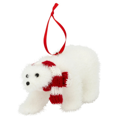 Polar Bear Ornament, Red
