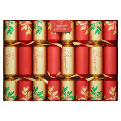 Red Dinner Party Christmas Crackers - 8 pack, Red