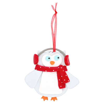 Owl Clay Dough Hanging Tree Ornament, Red