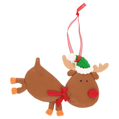 Reindeer Clay Dough Character Christmas Decoration, Red