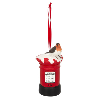 Red Postbox Hanging Tree Ornament, Red