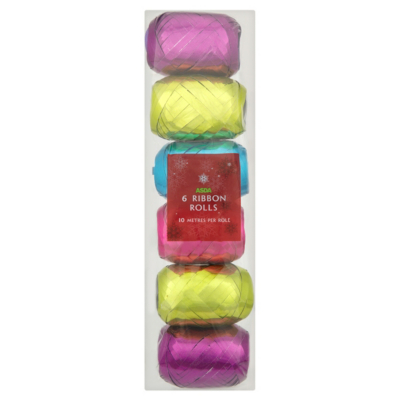 ASDA 6 Pack of 10M Foil Ribbons - Bright, Brights