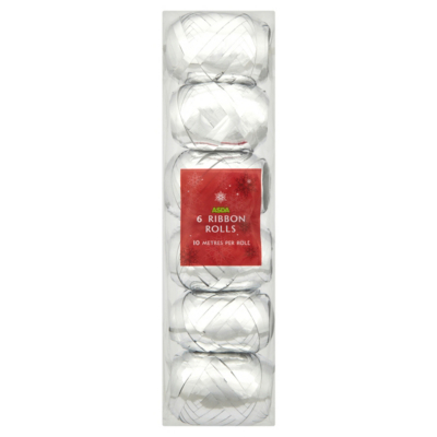 ASDA 6 Pack of Silver Foil Ribbons - 10 metres each, Silver