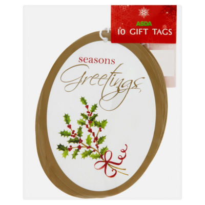 ASDA Holly Gift Tags - 10 pack, Red