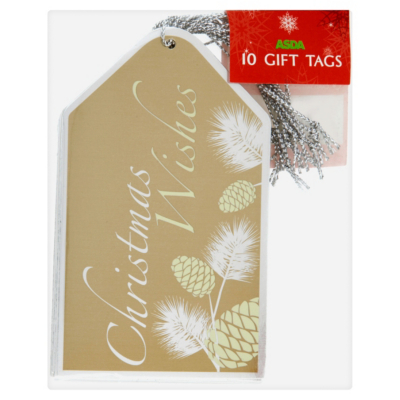 ASDA Pinecone Gift Tags - 10 pack, Gold