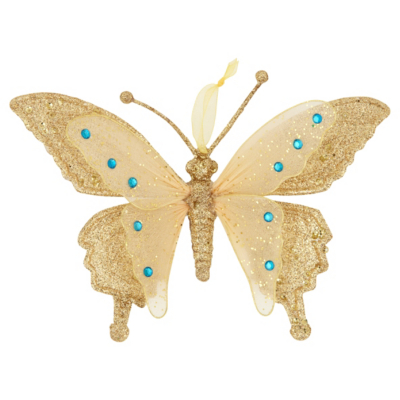 ASDA Gold Butterfly Christmas Decoration, Gold