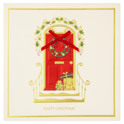 ASDA Luxury Red Door Christmas Card - 5 pack, Red