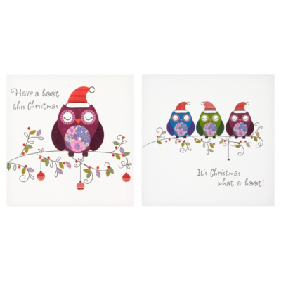 ASDA Owl Christmas Cards - 15 pack, Brights