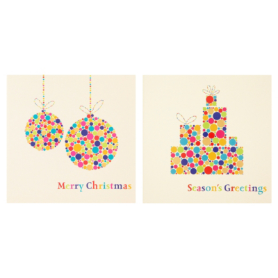 ASDA Foil Bauble and Present Christmas Cards - 15 pack, Brights