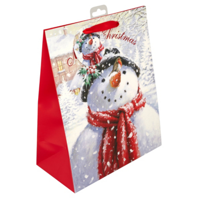 ASDA Traditional Snowman Large Gift Bag, Red