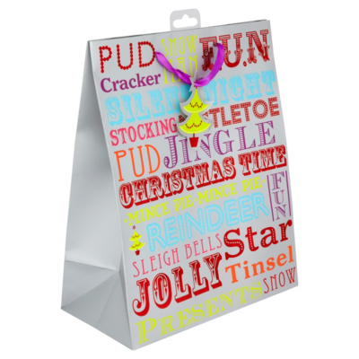 ASDA Bright Text Large Gift Bag, Brights