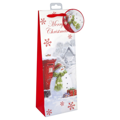 ASDA Traditional Snowman Bottle Gift Bag, Red
